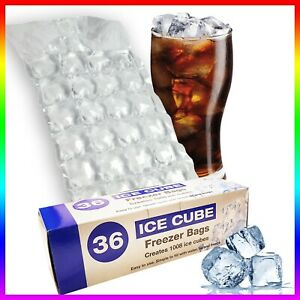 36 x Ice Cube Bags maker Clear Disposable Bag Fridge Freezer Plastic 1008 Cubes