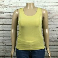 Chico's Travelers Tank Top Shell Shirt 2 LARGE 12 Chartreuse Green Travel Knit