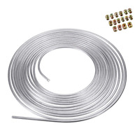 3/16 Iron Zinc Steel Brake Line Tubing Kit Coil Roll &SAE Tube Nut Fittings 25ft