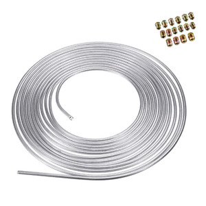 3/16 Iron Zinc Steel Brake Line Tubing Kit Coil Roll &SAE Tube Nut Fittings 25ft