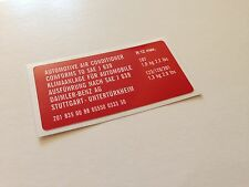 Mercedes  W107 R107  W123 W126 W201 air conditioner sticker label