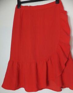 New Women's Boden Red High Waist Ruffle Skirt Size UK 8