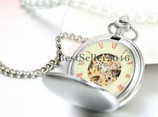 Silver Antique Mechanical Skeleton Steampunk Mens Pocket Watch Necklace Chain