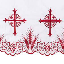 """Red Embroidered Bread of Life Altar Frontal 50"""" x 96"""""""
