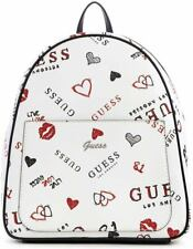 NEW GUESS Factory Fargo White Black Red Logo Graffiti Print Backpack Handbag