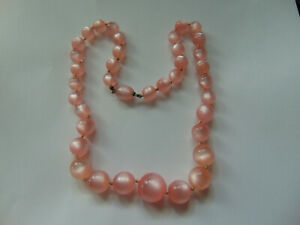 Vintage Pink Moonglow Lucite Beaded Necklace