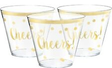 Gold Cheers Birthday New Years Eve Party Plastic 30 x Tumblers Cups Tableware
