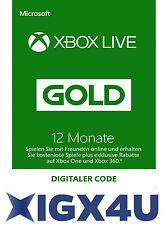Xbox One XBOX 360 LIVE 12 Monate GOLD Mitgliedschaft Karte Key/ 12 Month Card DE