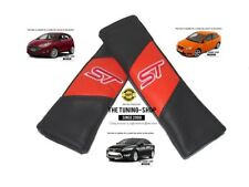 "2x Seat Belt Covers Pads Orange & Black Leather ""ST"" Edition Embroidery For Ford"