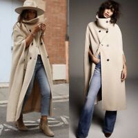 Zara Limited Edition Cream Camel Long Cape Coat Size S Bloggers Fave Sold Out