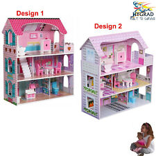 More details for wooden kids doll house all in 1 with furniture & staircase best dolls role play