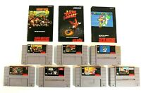 SNES Super Nintendo Game Lot of 7 Donkey Kong Country 2 Captain America - Tested