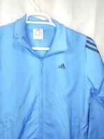 Mens Adidas 3 Stripe Logo Full Zip Track Windbreaker Jacket M Powder NC Blue