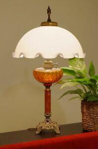 Original Jugendstil Tischleuchte Petroleumlampe Lampe Opalglas