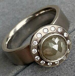 18K White Gold Black Rose-Cut Diamond Solitair Halo Gothic Men's Unisex Ring 8.5