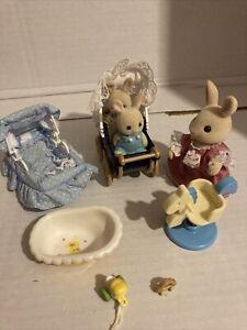 Sylvanian Families Twin Pram , Bath , Crib , Rocker , Toys & Rabbits