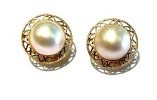 Mabe Pearl 14k Yellow Gold Omega Back Earrings