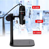 5MP 8 LED USB Digital Camera Microscope Magnifier Camera Vidio 1X-500X 5V DC