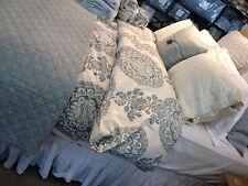 Pottery Barn Lucianna Duvet Cover Set Blue Queen 2 Standard Shams Floral New