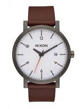 NIXON ROLLO 38 Gunmetal Brown Leather Men's Watch A984 2368-00  BRAND NEW!