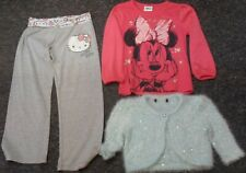 4/5 girl bundle minnie top,hello kitty bottoms, sequins cardi, great condition