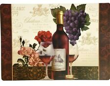 Grand Chateau Wine Vineyard Placemats 2Pc Purple Grapes Red Pink Roses Winery