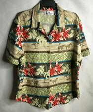 Erin London Safari Print Silk Linen Blend Button Front Sh.Sleeve Lady's Top XL