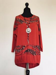 Made In Italy Lagenlook Red Animal Print Panel Tunic - UK  14 16 18