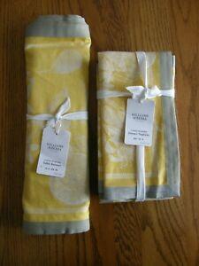 Williams Sonoma Citrus Jacquard Table Runner & 4 Cloth Napkins-Grey,Yellow - New
