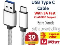 3A Braided Type-C USB-C Fast Charger Cable Cord Long For Samsung S9 20 21 Note20