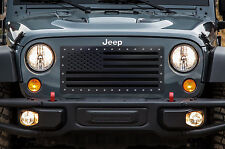 Jeep Wrangler Grille 07-16 Custom Aftermarket Steel Grill USA FLAG w/ SS Rivets