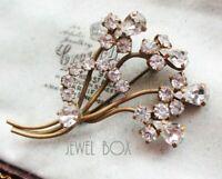 Antique Art Deco TEAR DROP DIAMOND Paste Floral Spray Vintage BROOCH w C Clasp
