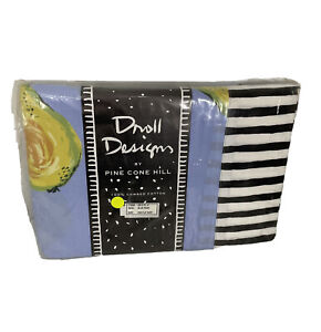Pine Cole Hill Droll Design Blue Pear Fruit King Flat Sheet NEW NIP
