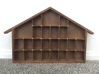 Vintage 25-Slot Wood House Miniature Curio Display Case Shadow Box w/ Gold Nails