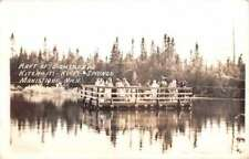 Manistique Michigan Sightseers Raft Real Photo Antique Postcard K73016