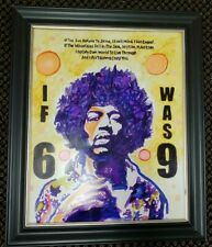 Jimi Hendrix Hand Painted Original Oil ink Painting Famous Musician Happy Guitar