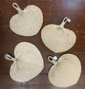 4 NEW W/ TAG Wall DECOR Fans Palm Leaf Wicker  Wall Hanging FANS SET OF 4