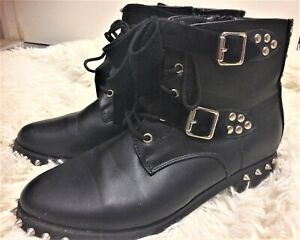 Black Faux Leather Low heel Studs & Buckles Ankle Boots size UK 6 EUR 39