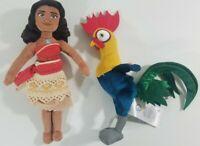 "Disney Plush Moana Doll Hei Hei Rooster Stuffed Toys 9"" Lot of 2"