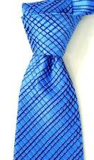 $450 Stefano Ricci Pleated Satin Blue w/ Tonal Stripes Silk Neck Tie NWT