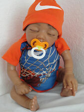 "Reborn 21"" AA Baby Boy Doll = Baylee Sculpt- sleeping African American Infant"