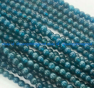 Natural 6/8/10mm Blue Ink Apatite Round Gemstones Loose Beads 15 Inches Strand