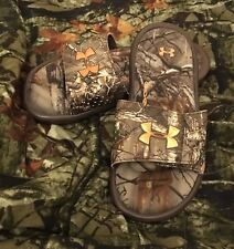 NEW Under Armour IGNITE CAMO Slides Boys 2 Youth