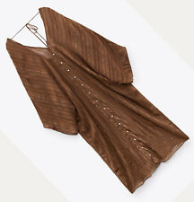 ZARA NEW WOMAN SHINY TUNIC DRESS LIMITED EDITION OPEN-BACK BROWN XS-L  7521/078