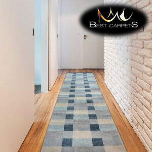 """Modern Thick Hall Runner """"NORDIC"""" grey squares Width 60-100cm extra long Stairs"""