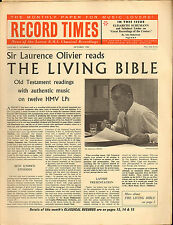 RECORD TIMES NEWSPAPER 1962 10 OCTOBER laurence olivier/schumann/copland/etc