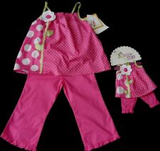 NEW Girl's Pink Polka Dot Daisy Tunic Dress Capri Set + Matching Doll Outfit Sz6