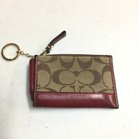 Coach Classic Brown and Tan Leather Zipped Coin Purse Key Chain w/ Hang coin