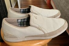 CLARKS Mens EST 1825 White Tan Canvas Slip On Loafer Shoes US 11 M