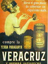 Femenil YERBA MATE PARAGUAYA VERACRUZ 1926 Spanish BEER or OIL Ad Matted